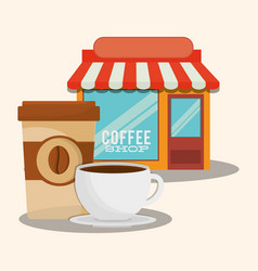Coffee shop paper cup market vector