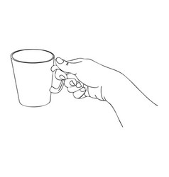 cooking hand with cup vector image vector image
