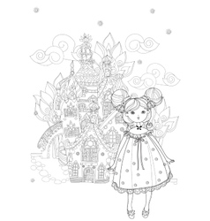 Cute girl in fairy cartoon town doodle vector