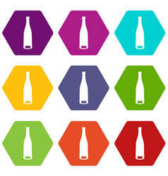 empty wine bottle icon set color hexahedron vector image