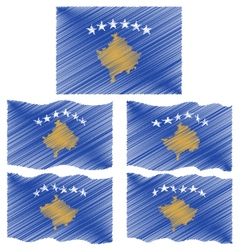 Flat and waving hand draw sketch flag of kosovo vector