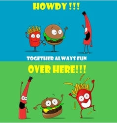 Funny friendly cartoon banners promoting fast food vector image