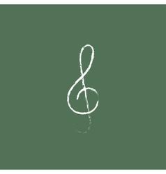 G-clef icon drawn in chalk vector