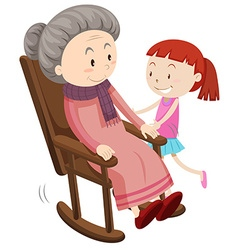 Grandmother on the rocking chair and girl vector image vector image