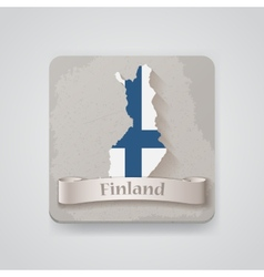 Icon of finland map with flag vector