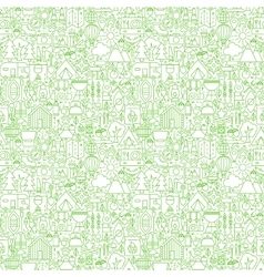 Line Camping White Seamless Pattern vector image