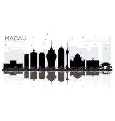 macau china city skyline black and white vector image