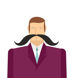 Male big black mustache of a man in a suit vector image