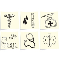 Medical and pharmacy icons on yellow memo sticks vector image vector image