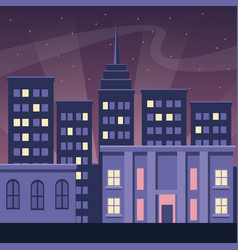 Night city buildings urban dark scape style vector