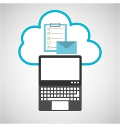 Pc cloud email checklist digital web vector