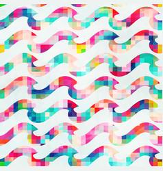 Pixel wave seamless pattern vector