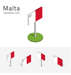 Republic of malta flag set of 3d isometric icons vector