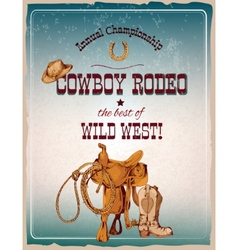 Rodeo poster colored vector image