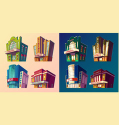 set of isometric of buildings vector image vector image