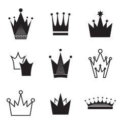 Simple crown icon set vector