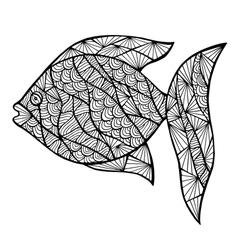 Stylized fish zentangle vector image vector image