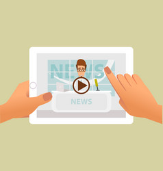 tablet with online video of breaking news on vector image