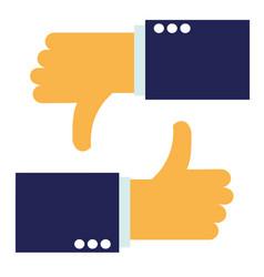thumbs up and thumbs down - like and dislike vector image vector image