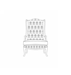 Vintage armchair with ornament pattern vector