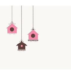 Vintage bird house vector