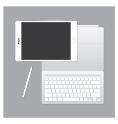 White tablet pro with keyboard case and pen vector