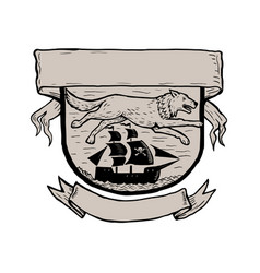 Wolf running over pirate ship crest scratchboard vector