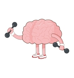 Human brain lifiting weights icon vector