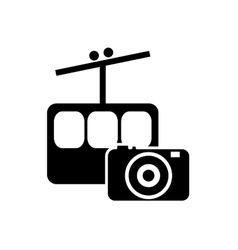 Funicular and photographic camera icon vector