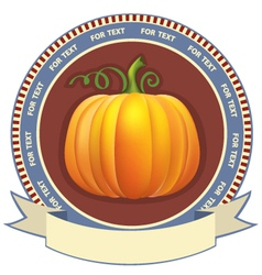 Pumpkin label with scroll for text retro image vector