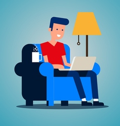 Young adult man working at home vector