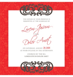Red vintage wedding invitation card vector