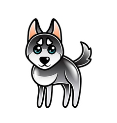 Cute cartoon husky dog isolated vector