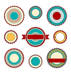 Labels with guilloche elements in turquoise vector