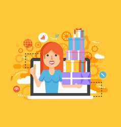 Woman thumbs up in laptop vector