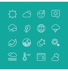 Weather icons set clouds sky or wind and vector