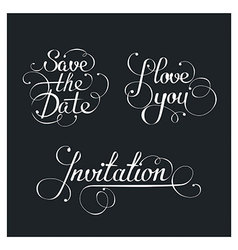 Set of wedding calligraphic lettering vector