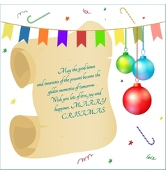 Greeting card scroll christmas balls vector
