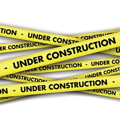 Under construction tape background vector