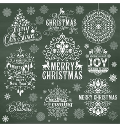 Set of christmas calligraphic design elements vector
