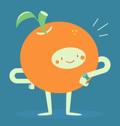 Orange character looking at a watch vector