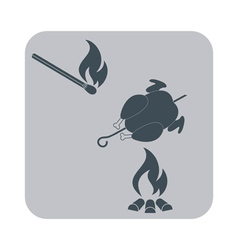 Barbecue chick and matches vector