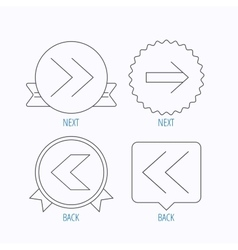 Arrows icons next back linear signs vector