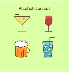 alcohol drinks icon set vintage set vector image