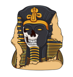 Ancient pharaoh statue of a skull vector
