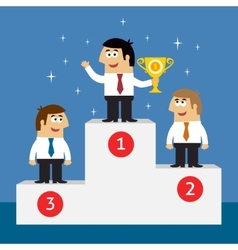 Business life employees on winners podium vector