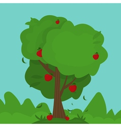 cartoon abstract apple tree vector image