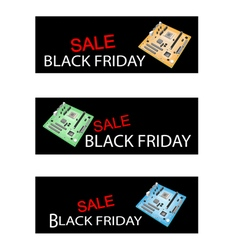 Computer motherboard on black friday sale banners vector