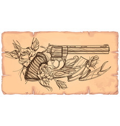 contour image of revolver roses and ribbon on the vector image