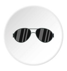 Dark glasses icon circle vector